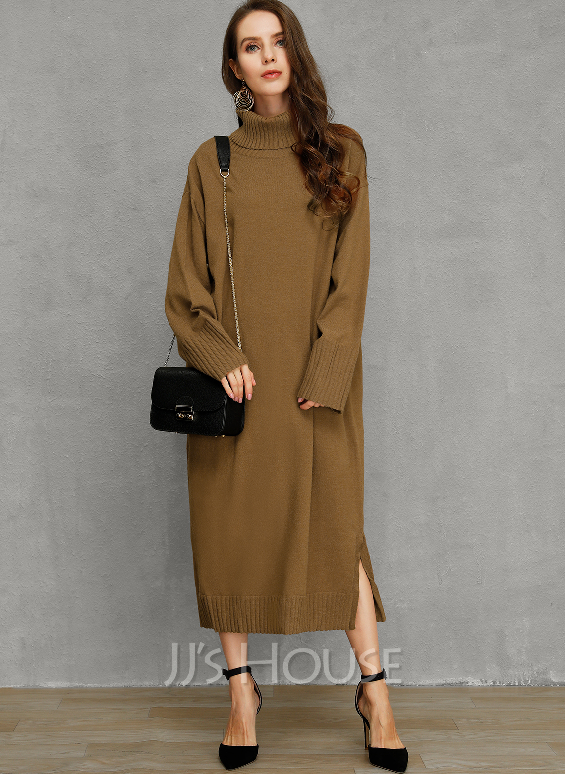 Chunky knit Solid Acrylic Turtleneck Pullovers Sweater Dresses Sweaters