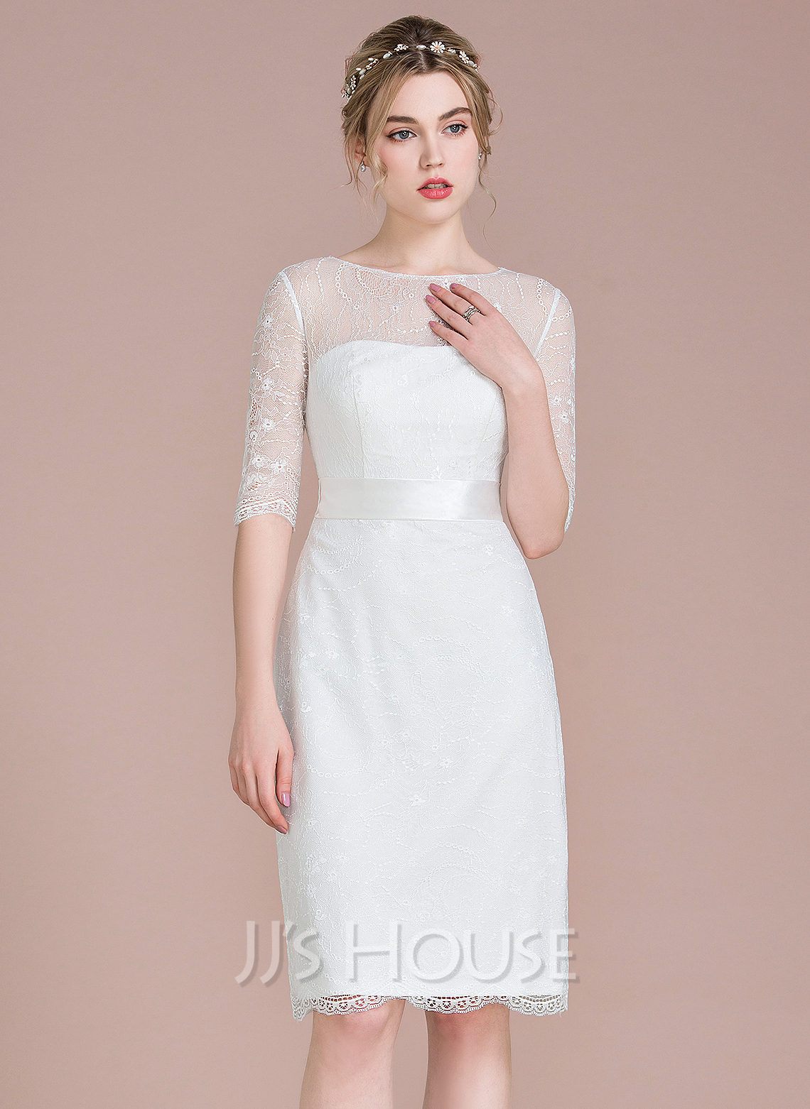 Sheath column scoop neck knee length lace wedding dress for Scoop neck sheath wedding dress