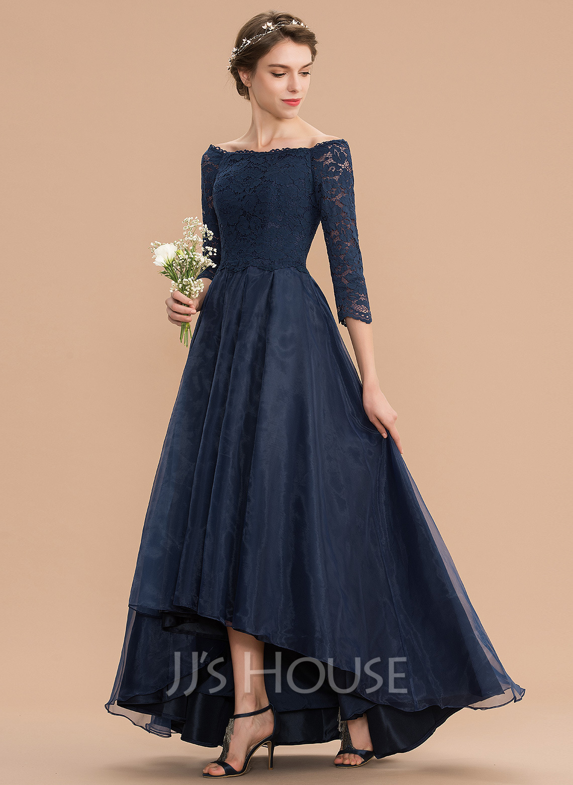 Off-the-Shoulder Asymmetrical Organza Lace Bridesmaid Dress With Ruffle
