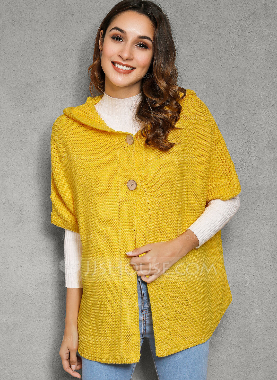 Ribbed Solid Acrylic Polyester Hooded Pullovers Sweaters