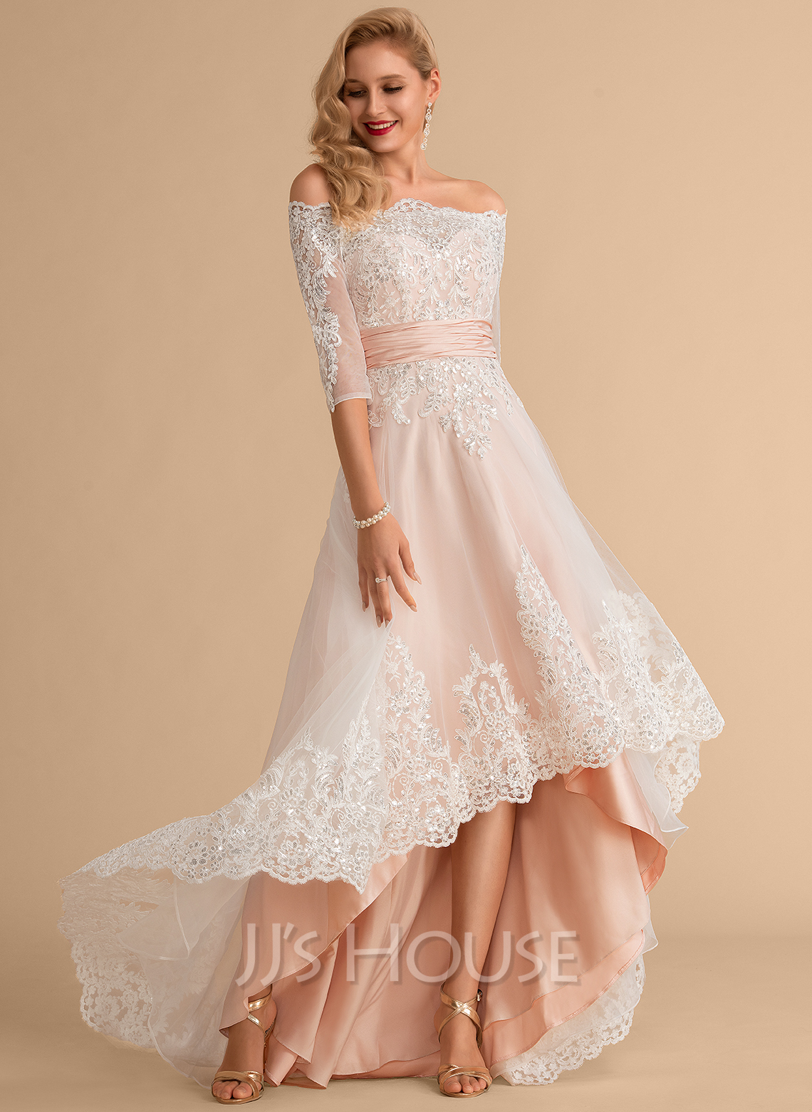 Off-the-Shoulder Asymmetrical Satin Tulle Lace Wedding Dress With Sequins