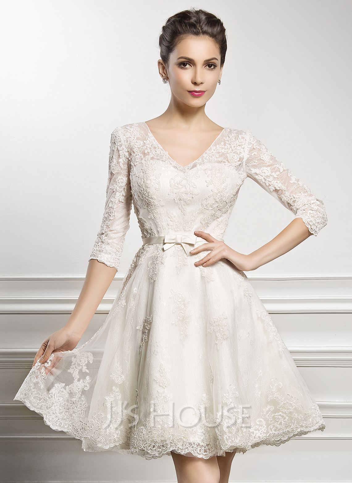A Line Princess V Neck Knee Length Lace Wedding Dress With Bow Loading Zoom