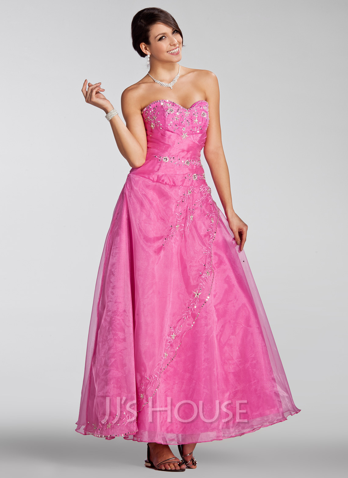 9d6f026d9a A-Line Princess Sweetheart Ankle-Length Organza Quinceanera Dress With  Embroidered Beading Sequins. Loading zoom