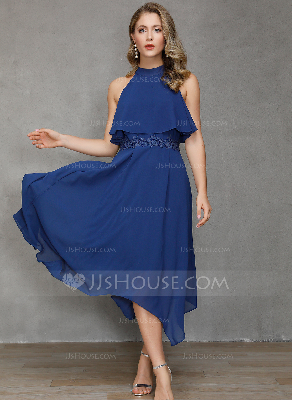 Chiffon With Lace/Solid Asymmetrical Dress