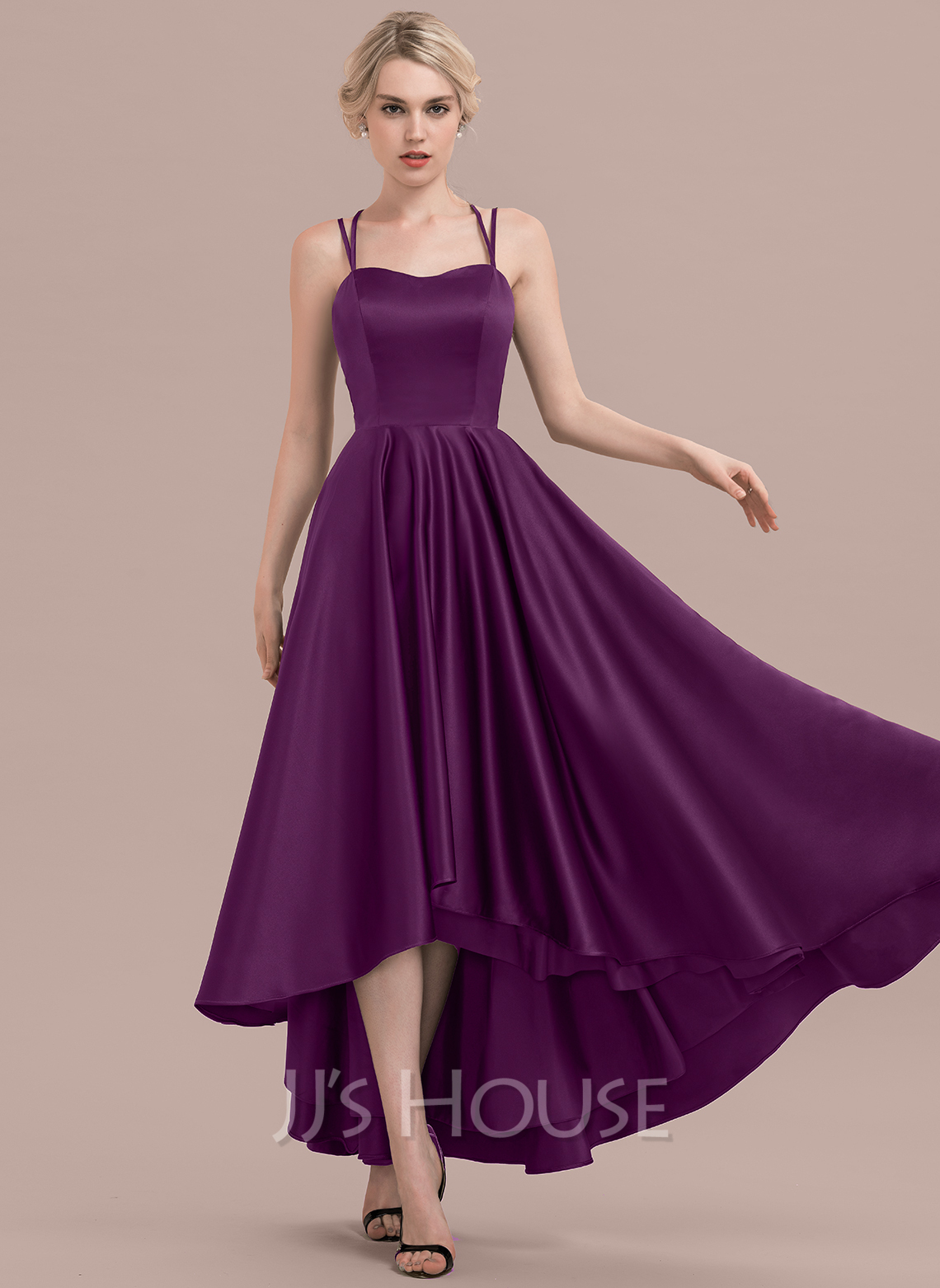 Sweetheart Asymmetrical Satin Bridesmaid Dress