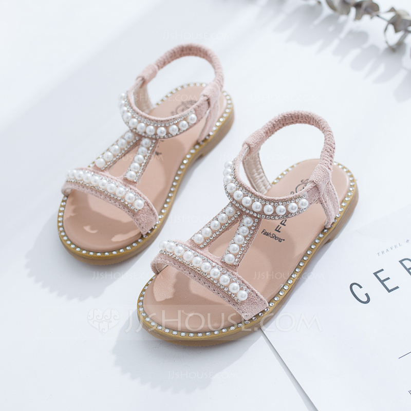 Girl's Peep Toe Slingback Leatherette Flat Heel Sandals Flats Flower Girl Shoes With Velcro Crystal Pearl