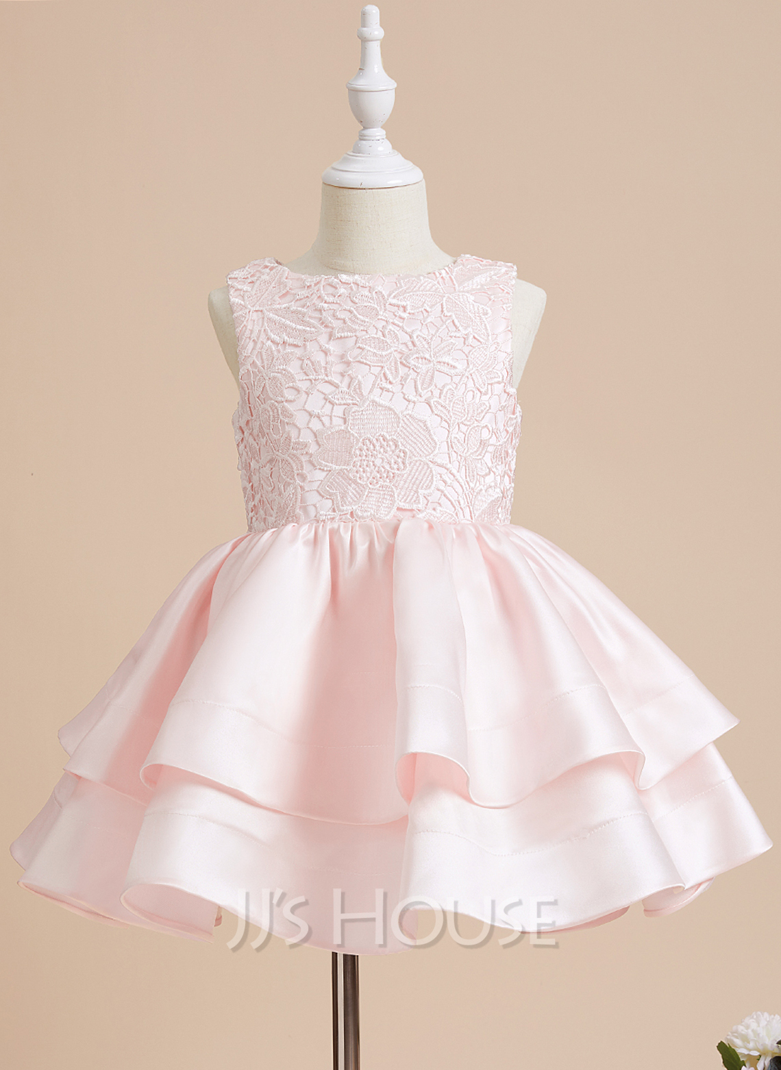 A-Line Short/Mini Flower Girl Dress - Satin/Lace Sleeveless Scoop Neck