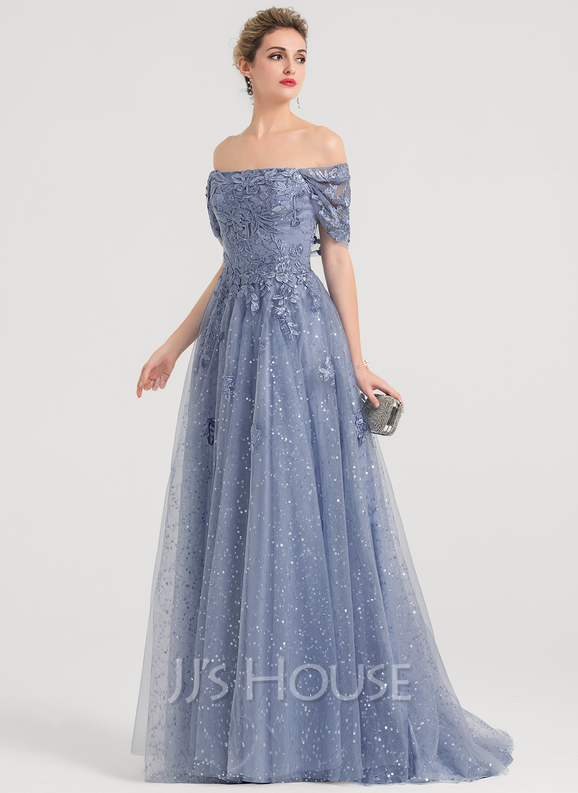 476b51cc985 A-Line Princess Off-the-Shoulder Sweep Train Tulle Prom Dresses With.  Loading zoom