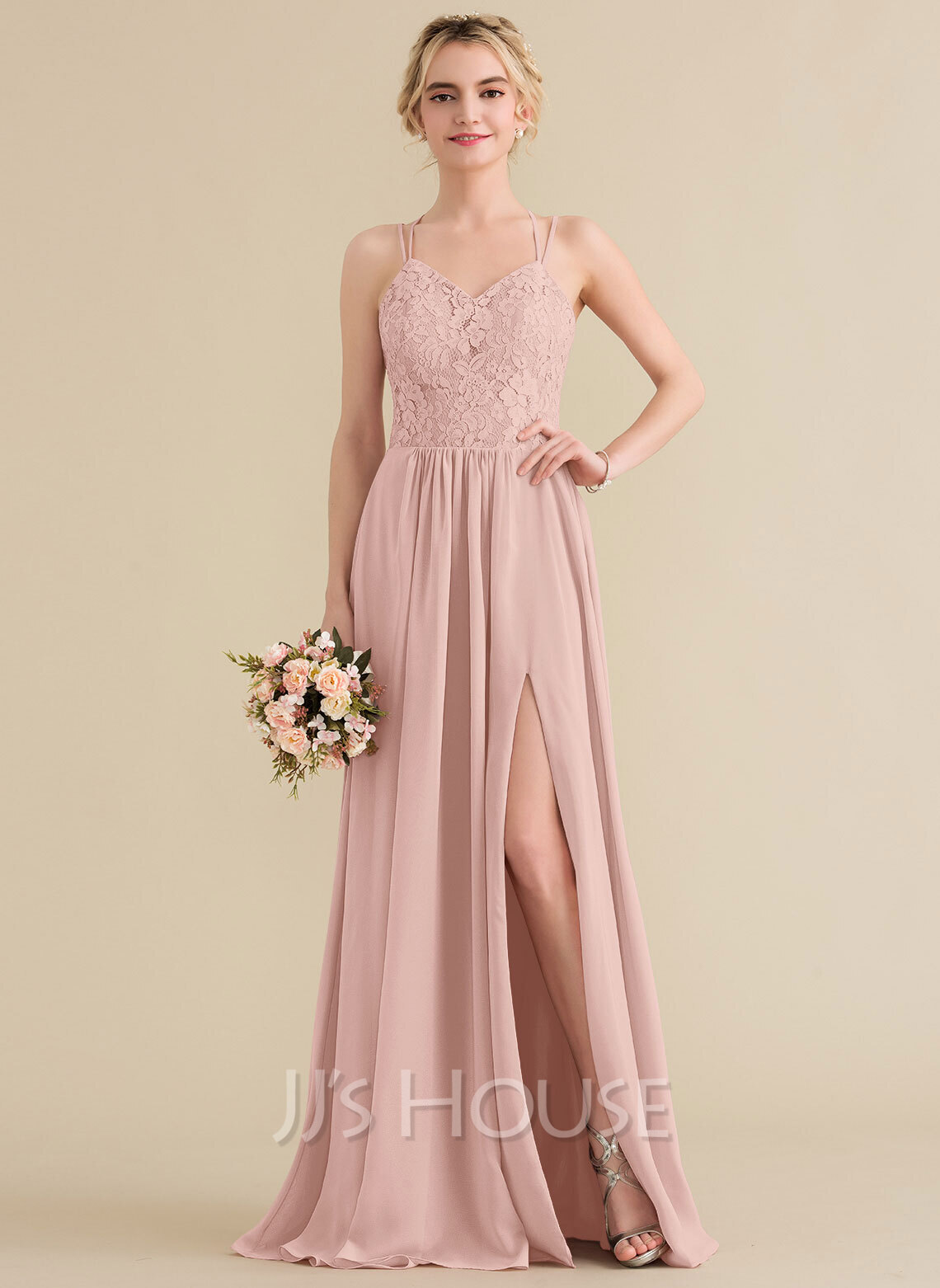 beefe0c359f A-Line Princess Sweetheart Floor-Length Chiffon Lace Bridesmaid Dress With  Split Front. Loading zoom