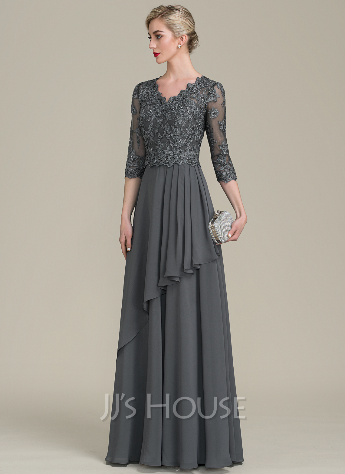A-Line V-neck Floor-Length Chiffon Lace Mother of the Bride Dress With Beading Sequins Cascading Ruffles
