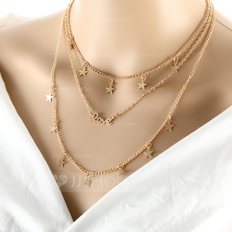Star Shaped Alloy Ladies' Fashion Necklace (Sold in a single piece)