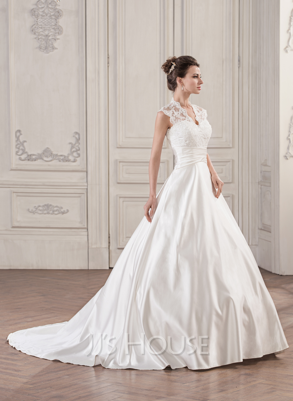 Ball Gown V Neck Court Train Satin Lace Wedding Dress With Ruffle Loading Zoom