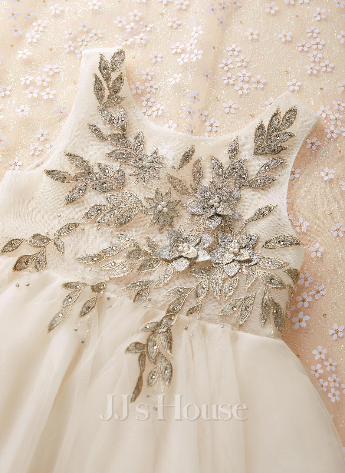 A-Line Tea-length Flower Girl Dress - Tulle/Lace Sleeveless Scoop Neck With Beading/V Back