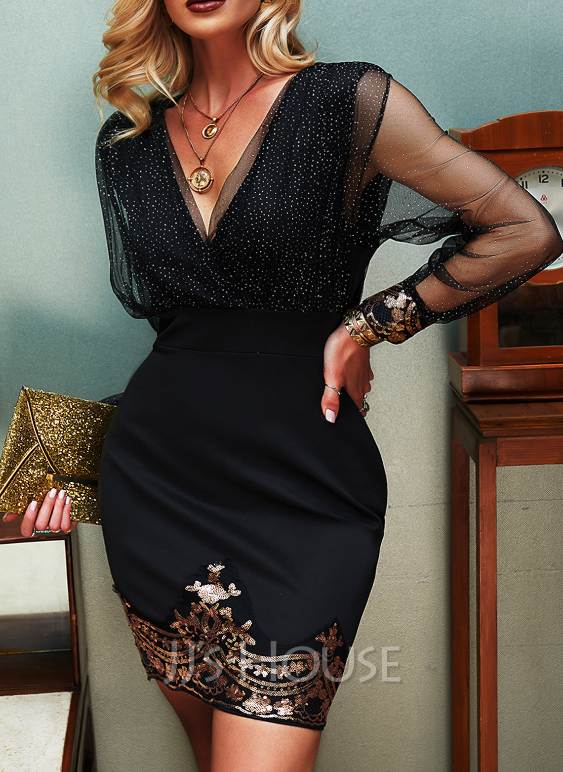 Sequins Solid Bodycon V-Neck Long Sleeves Midi Elegant Party Dresses