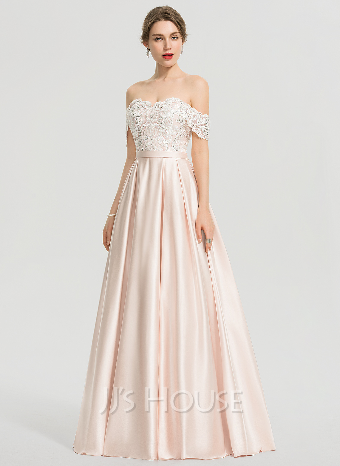 Ball-Gown/Princess Off-the-Shoulder Floor-Length Satin Wedding Dress With Sequins