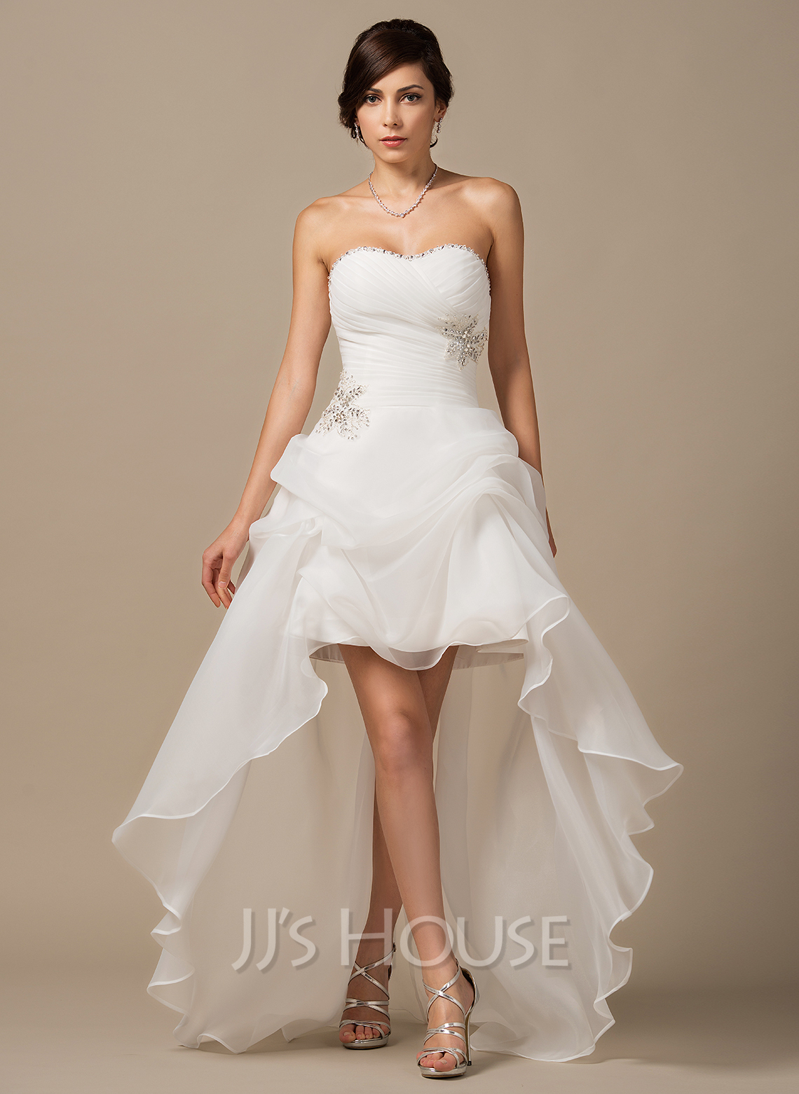 Sweetheart Asymmetrical Organza Wedding Dress With Ruffle Beading Sequins