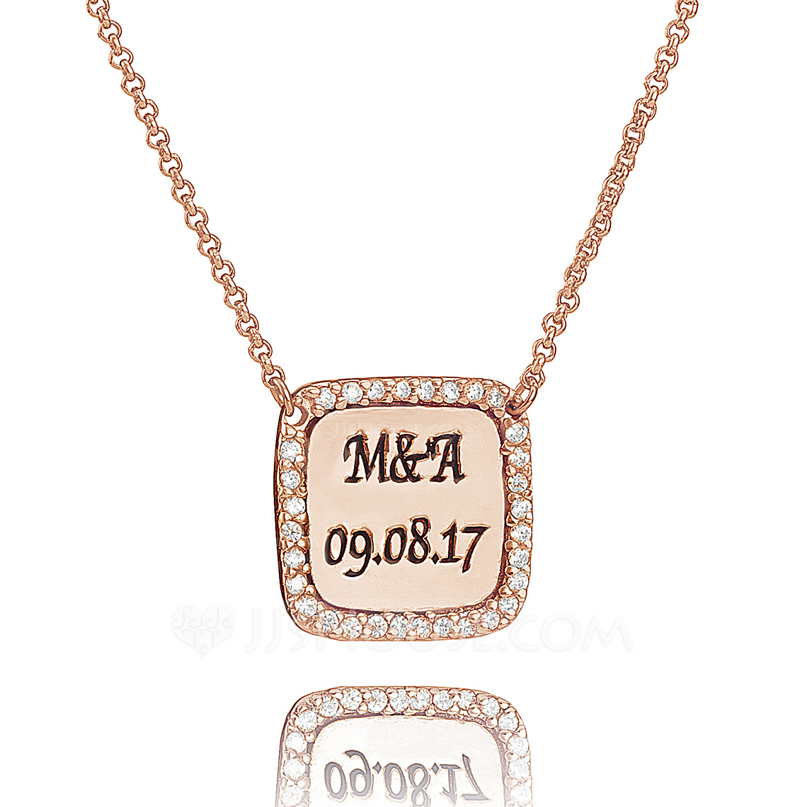Custom 18k Rose Gold Plated Silver Engraved Necklace With Diamond - Christmas Gifts
