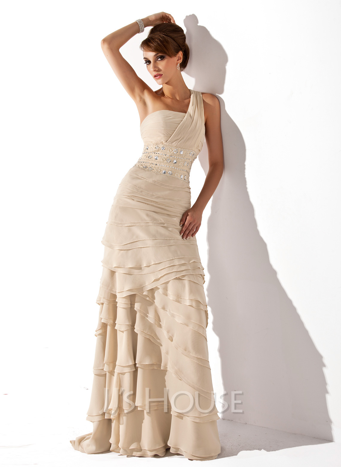 A-Line One-Shoulder Sweep Train Chiffon Mother of the Bride Dress With Beading Cascading Ruffles