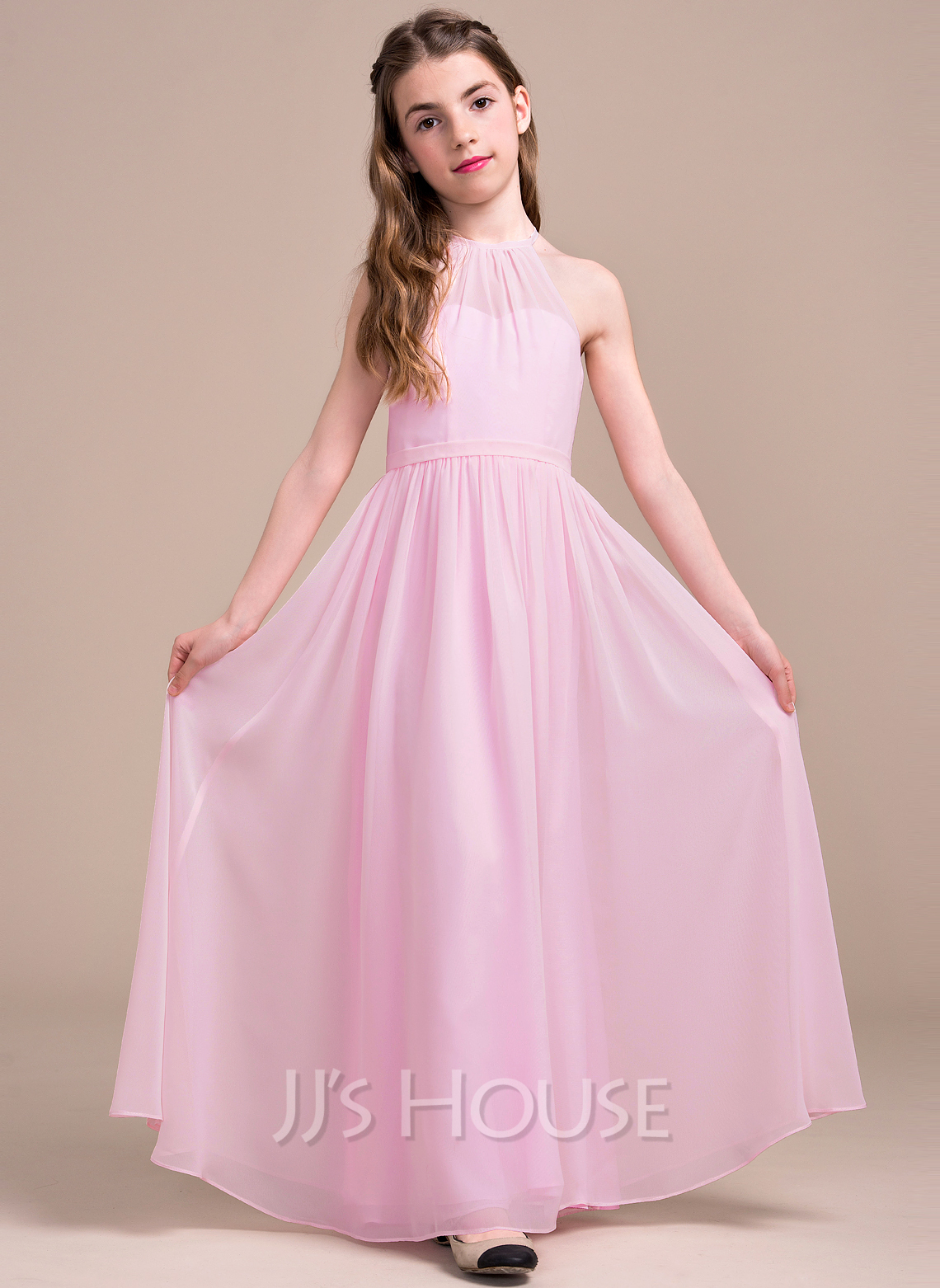 A lineprincess scoop neck floor length chiffon junior bridesmaid a lineprincess scoop neck floor length chiffon junior bridesmaid dress with ruffle loading zoom ombrellifo Images