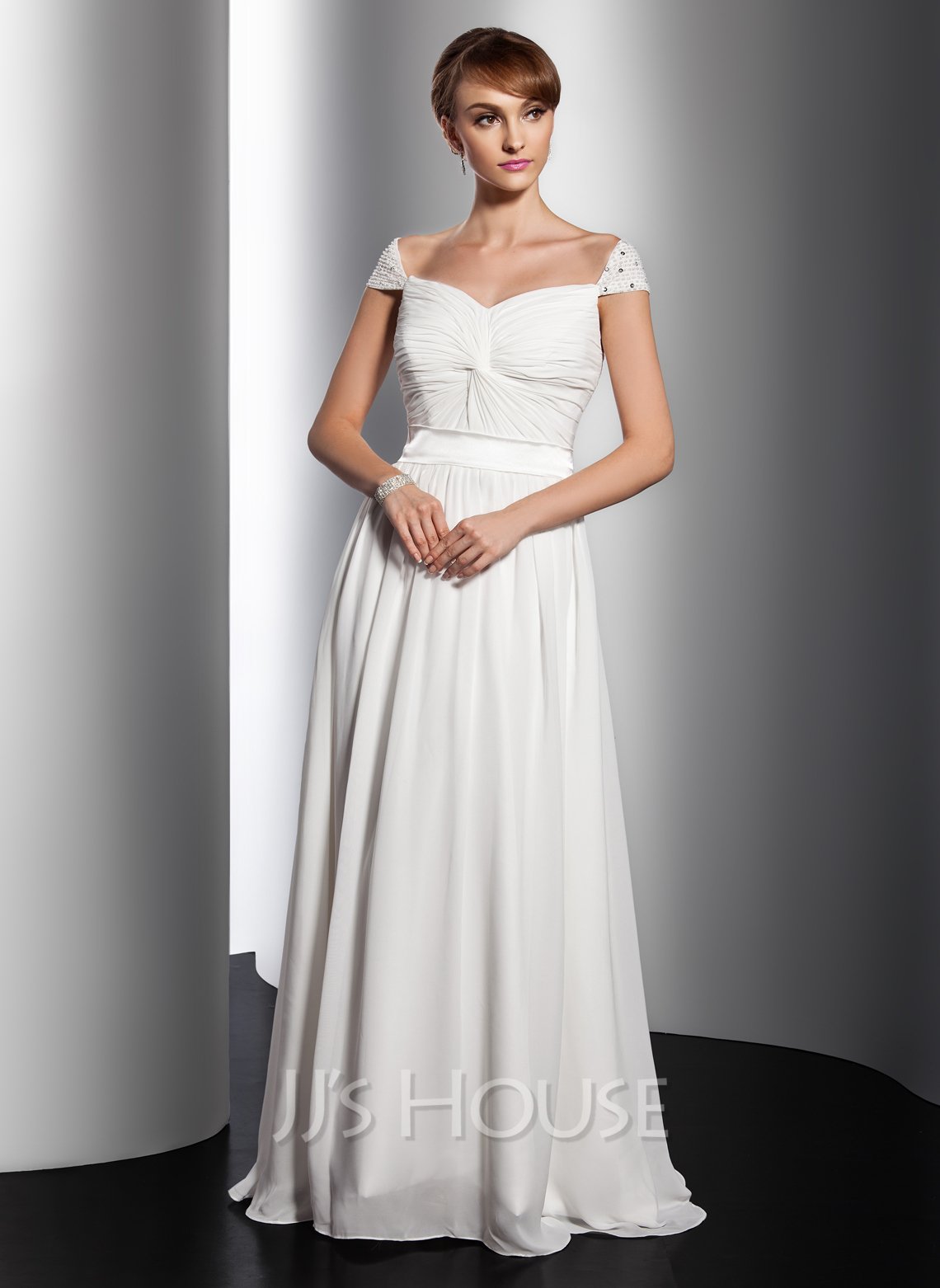 A-Line/Princess V-neck Sweep Train Chiffon Holiday Dress With Ruffle Beading