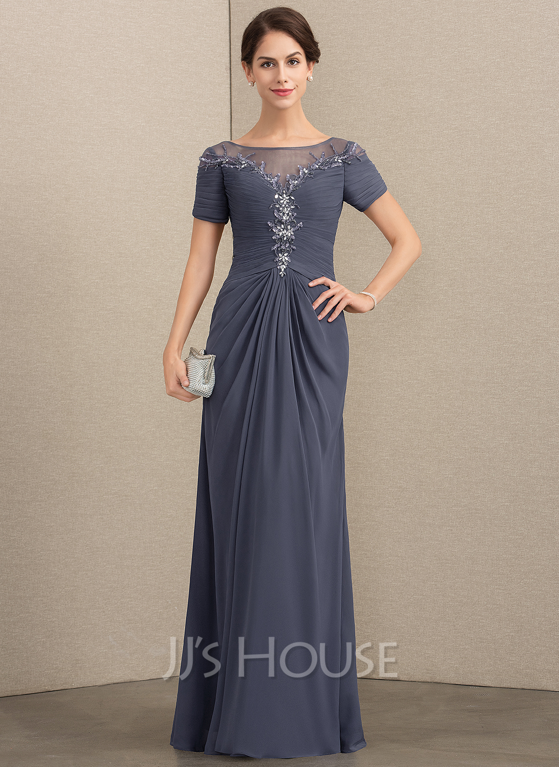 e22d83f42db8 A-Line/Princess Scoop Neck Floor-Length Chiffon Mother of the Bride Dress. Loading  zoom