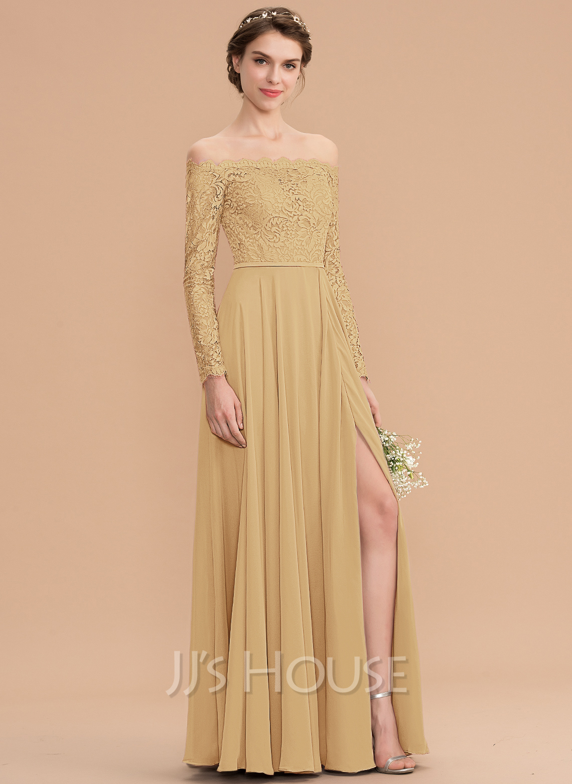 a6b637a584ef Off-the-Shoulder Floor-Length Chiffon Lace Bridesmaid Dress With Split Front.  Loading zoom