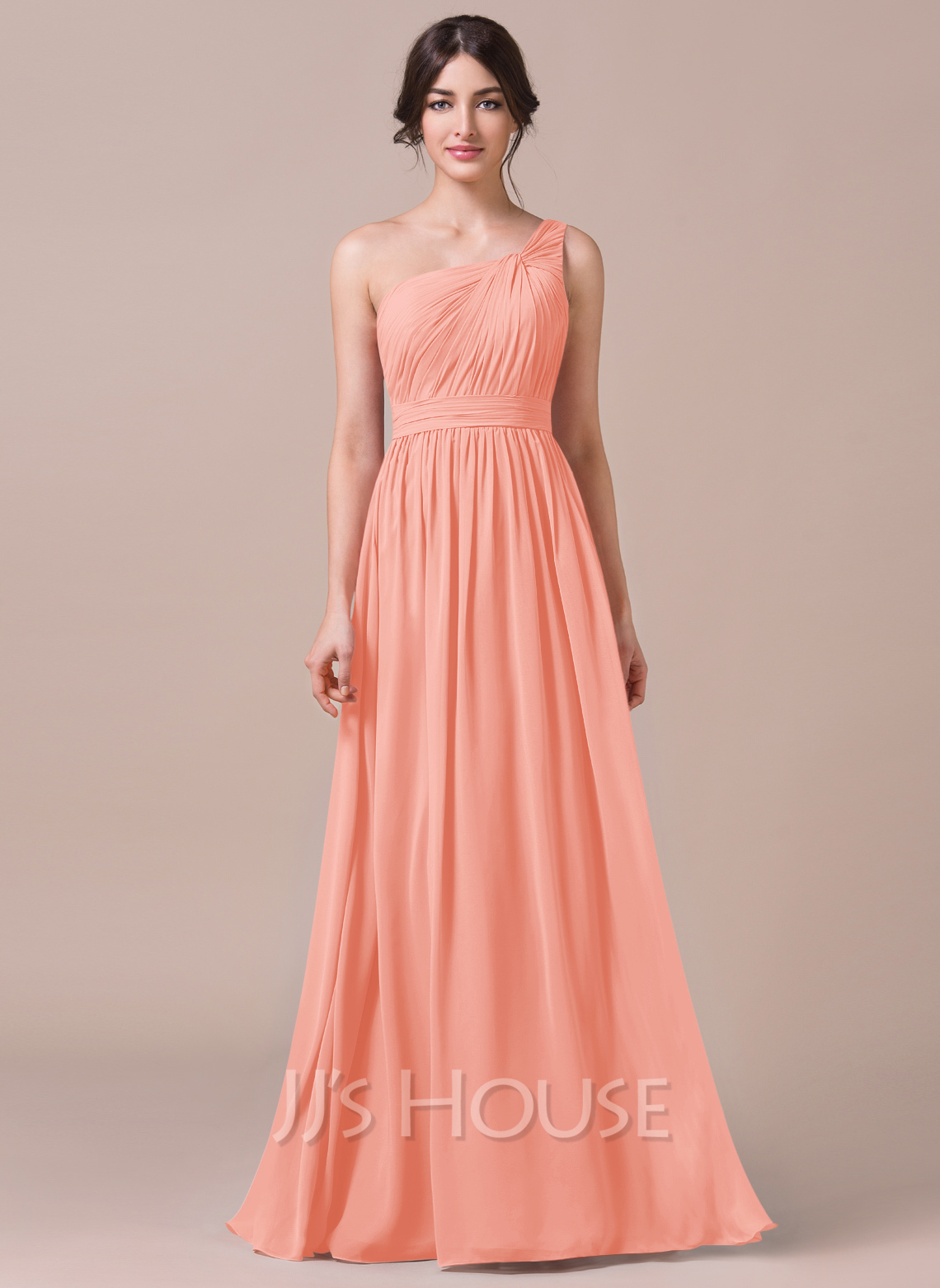 a5b0e1cb9ebc7 A-Line One-Shoulder Floor-length Chiffon Bridesmaid Dress. Loading zoom