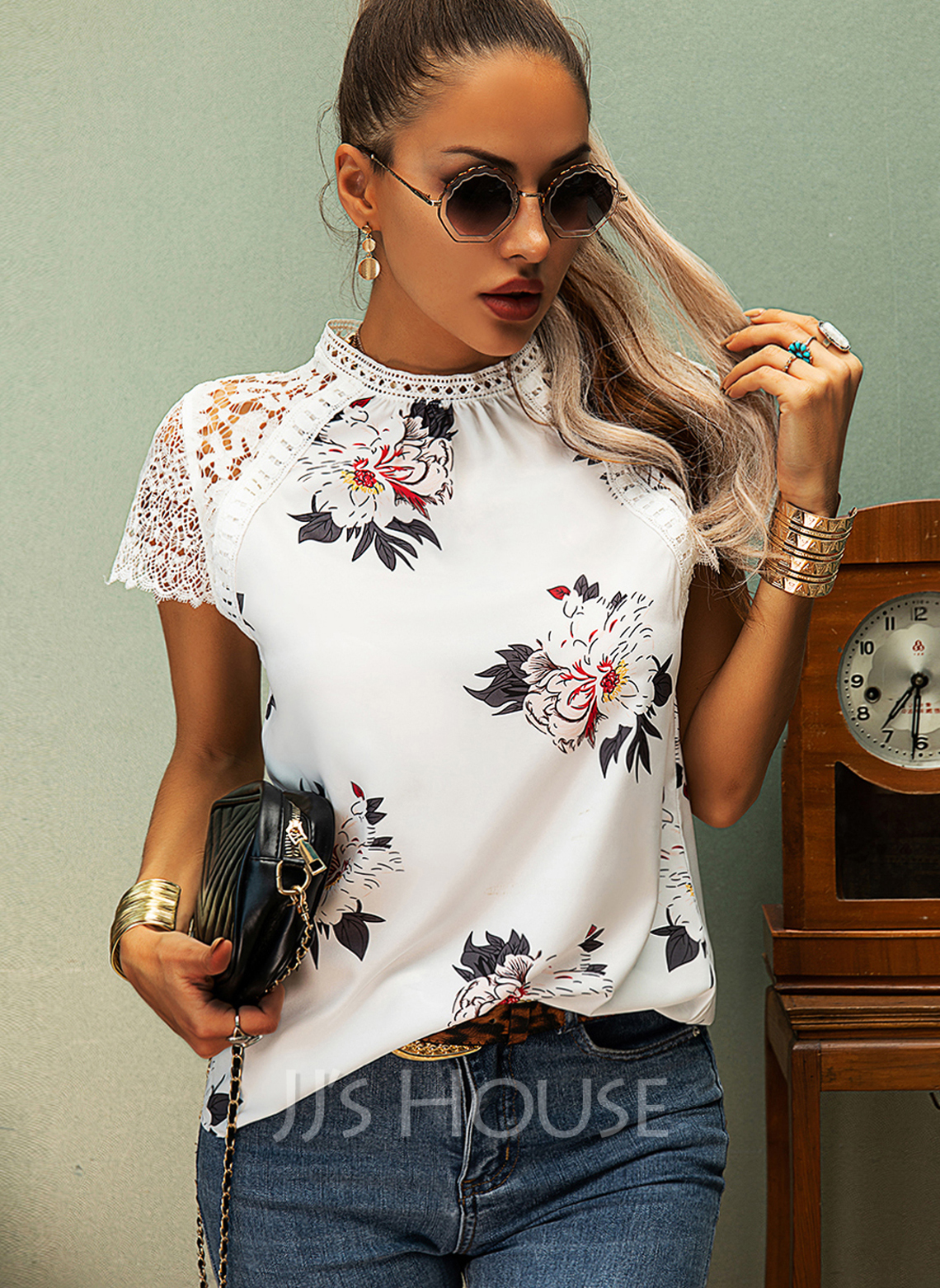 Regular Polyester Round Neck Floral Lace Print Tight Blouses