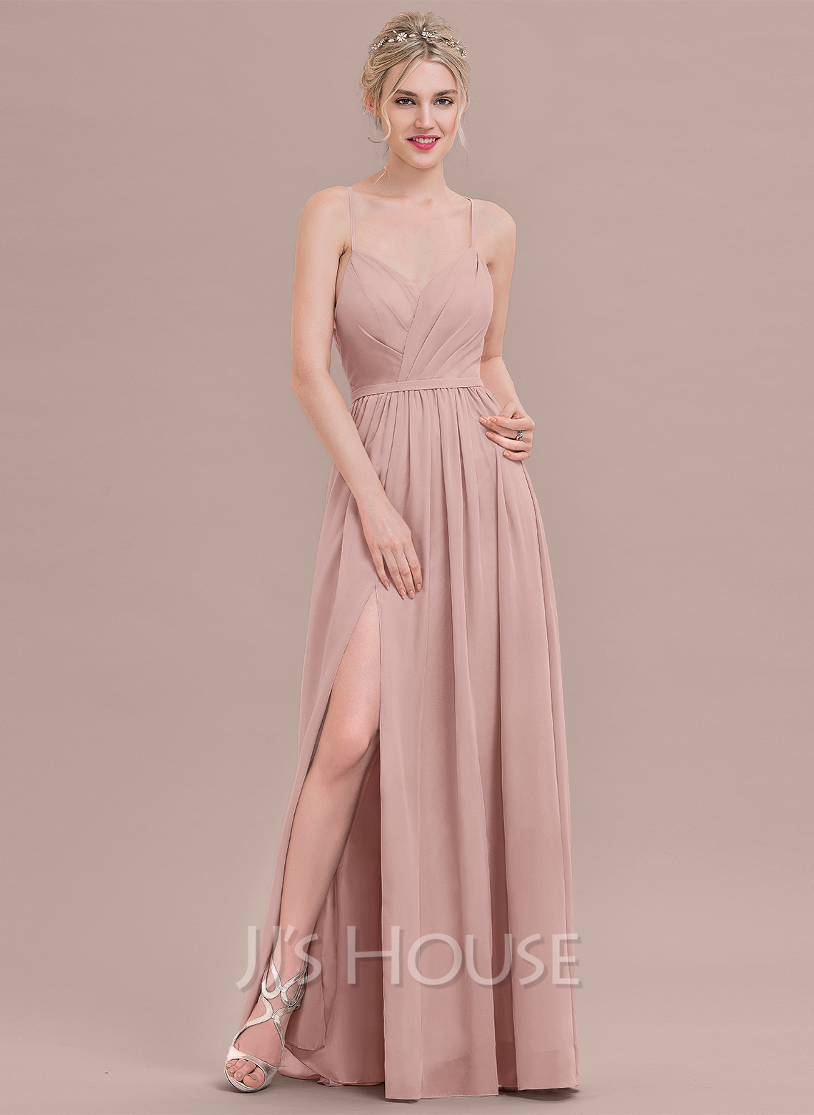 9676d302611 A-Line Princess Sweetheart Floor-Length Chiffon Prom Dresses With Ruffle  Split Front. Loading zoom