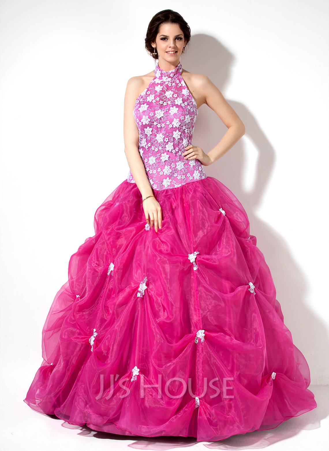 ed78e8a660 Ball-Gown Halter Floor-Length Organza Lace Quinceanera Dress With Ruffle. Loading  zoom