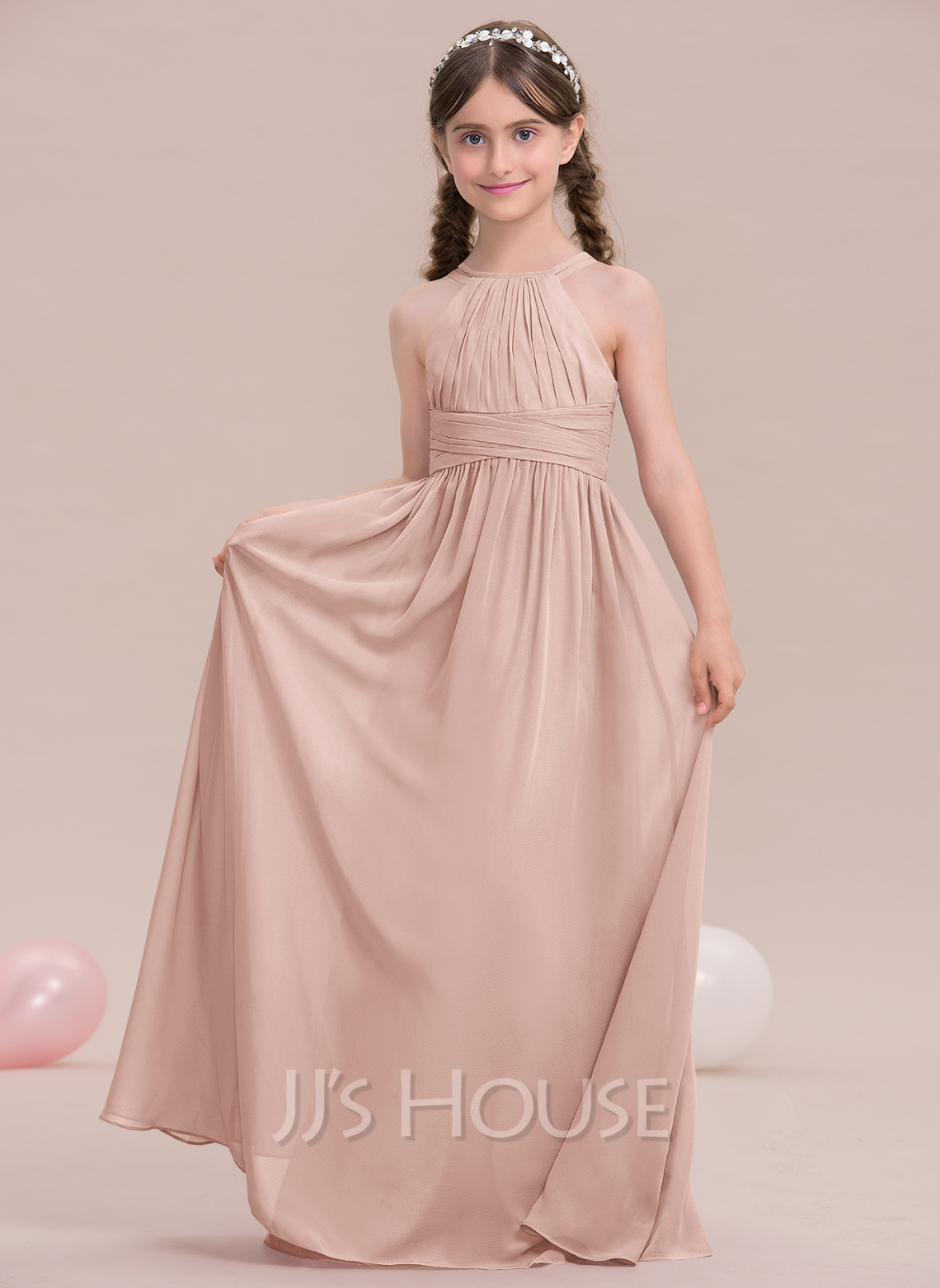 cd1e6a4800 A-Line Princess Scoop Neck Floor-Length Chiffon Junior Bridesmaid Dress  With Ruffle. Loading zoom