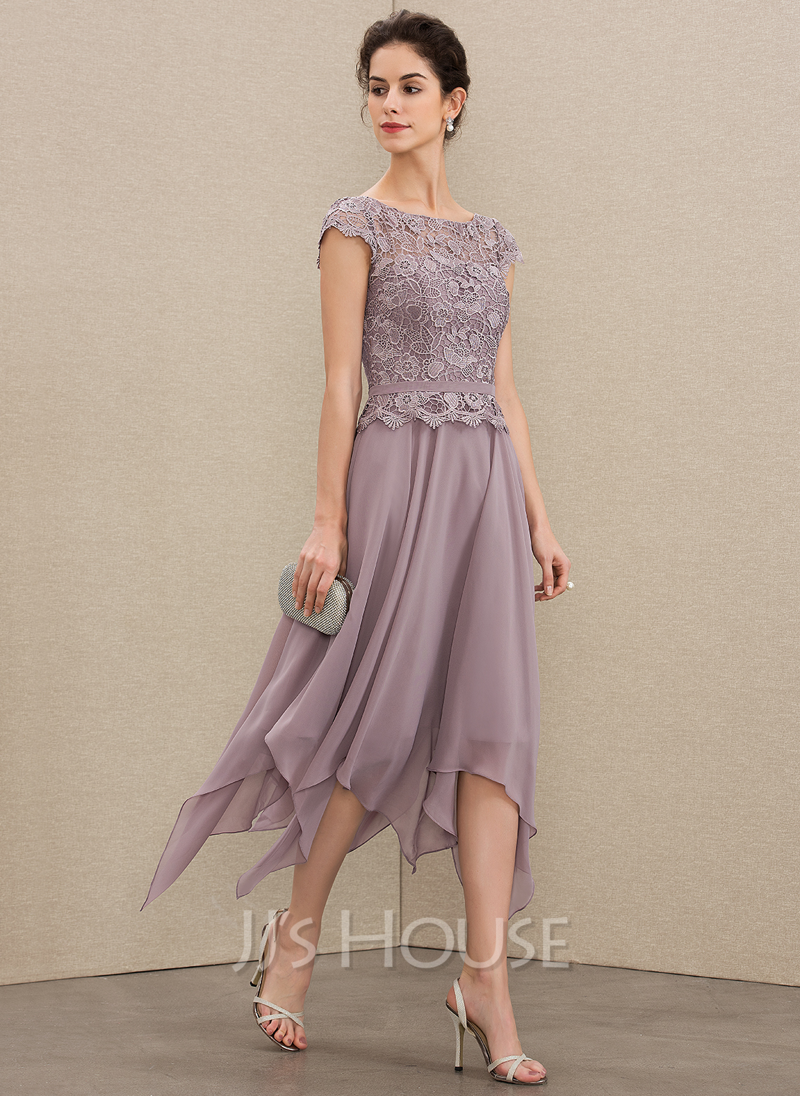 Scoop Neck Ankle-Length Chiffon Lace Cocktail Dress With Cascading Ruffles
