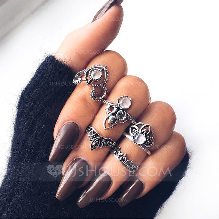 Fashional Alloy Acrylic With Acrylic Women's Fashion Rings (Set of 5)