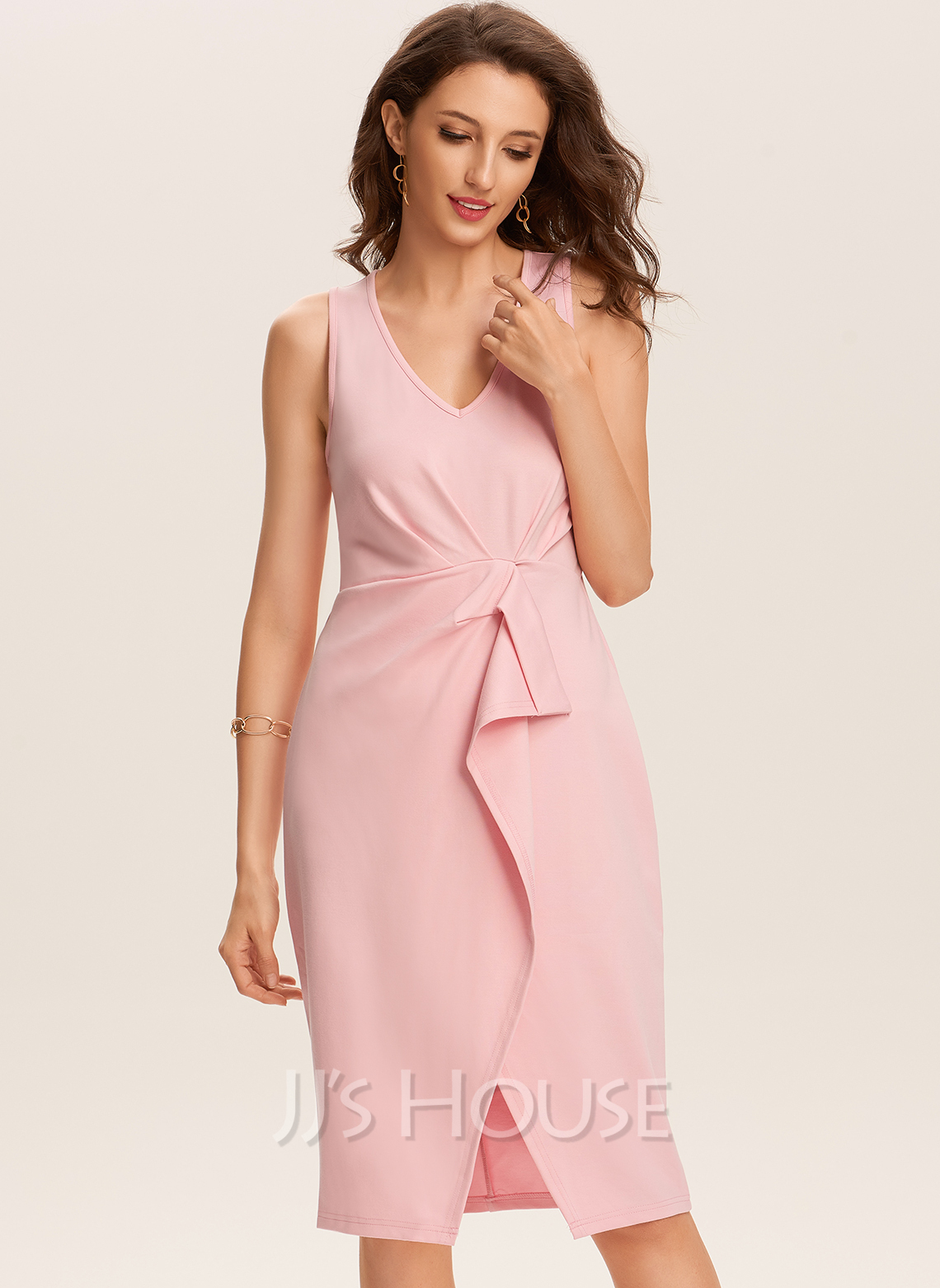Polyester With Solid/Slit Knee Length Dress