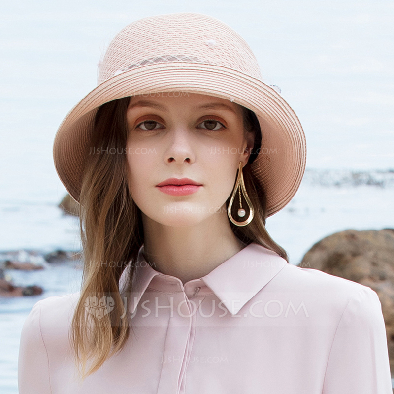 Ladies' Classic/Simple Papyrus With Tulle Floppy Hats