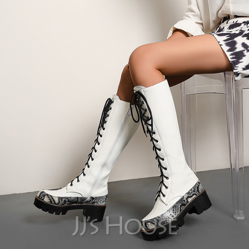 Women's Leatherette Chunky Heel Knee High Boots Round Toe With Lace-up shoes