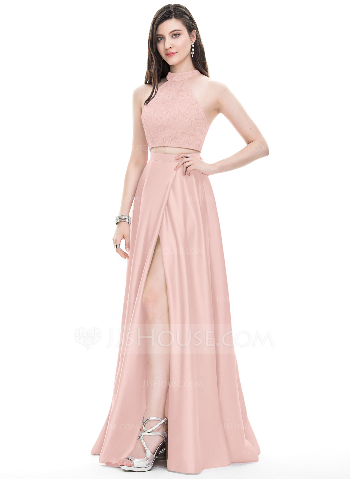 fdc49d85d87 A-Line Princess Scoop Neck High Neck Floor-Length Satin Prom Dresses With Split  Front  105694