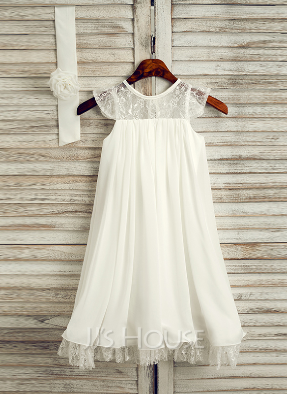 Tea-length Flower Girl Dress - Chiffon Sleeveless Scoop Neck With Lace