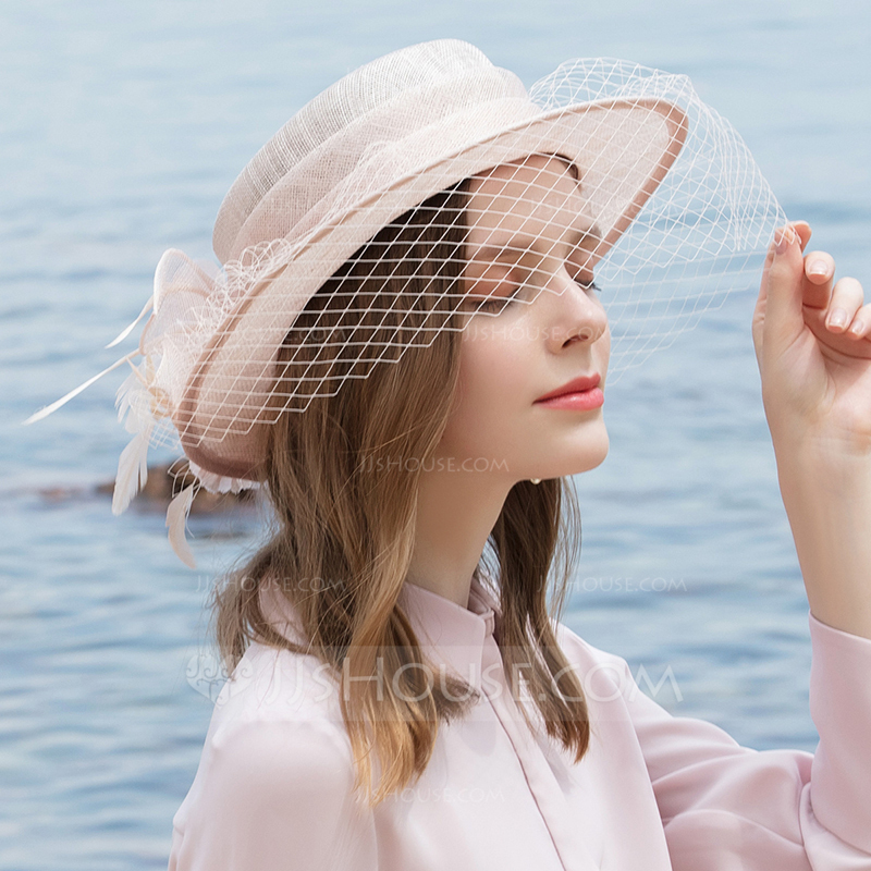 Ladies' Glamourous/Classic/Elegant/Romantic Cambric With Feather/Tulle Beach/Sun Hats
