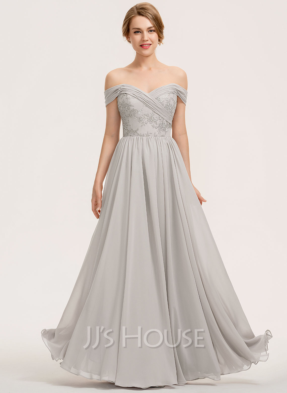 Off-the-Shoulder Floor-Length Chiffon Lace Bridesmaid Dress With Ruffle