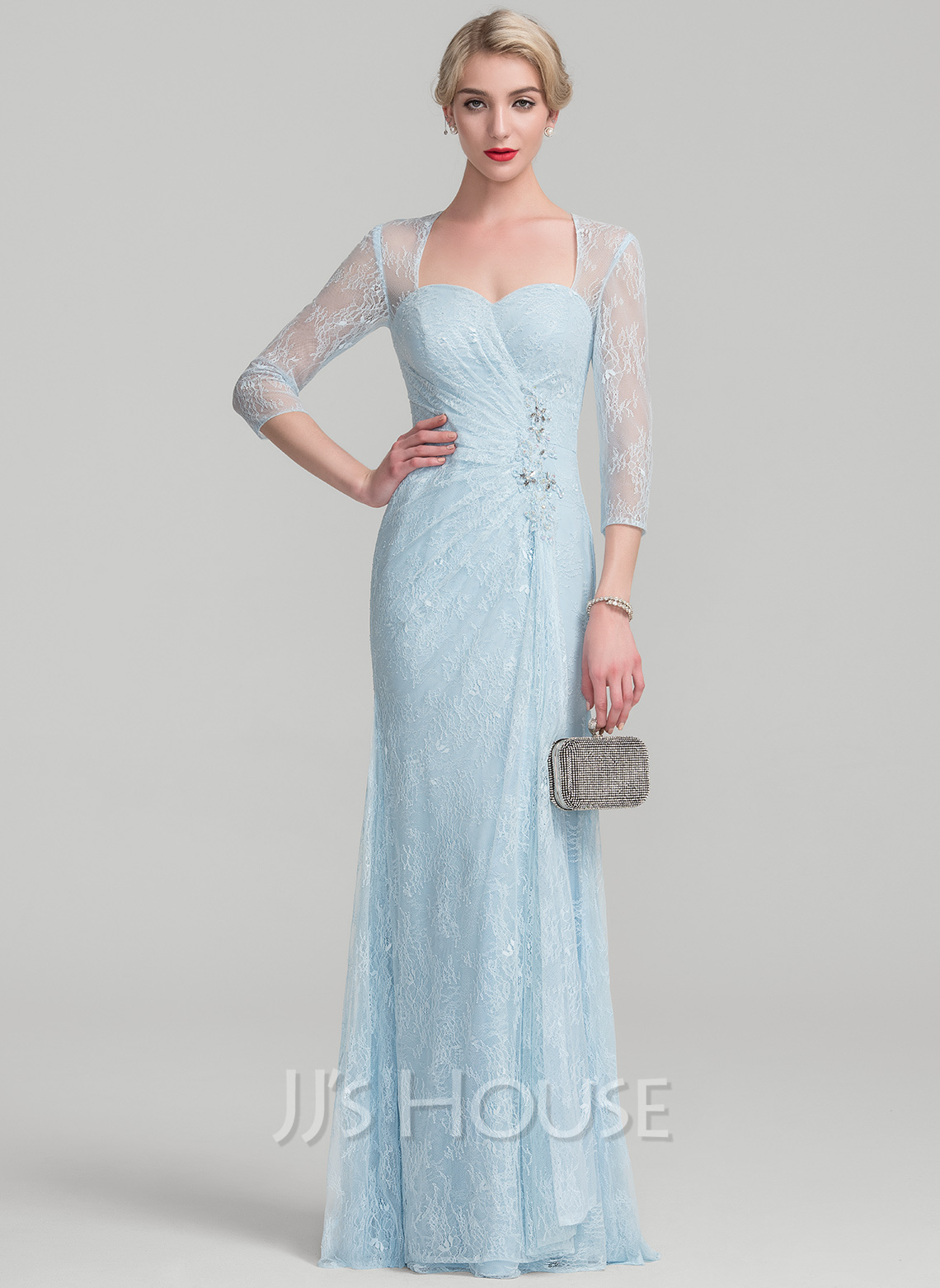 Sheath/Column Sweetheart Floor-Length Lace Mother of the Bride Dress With Beading Sequins