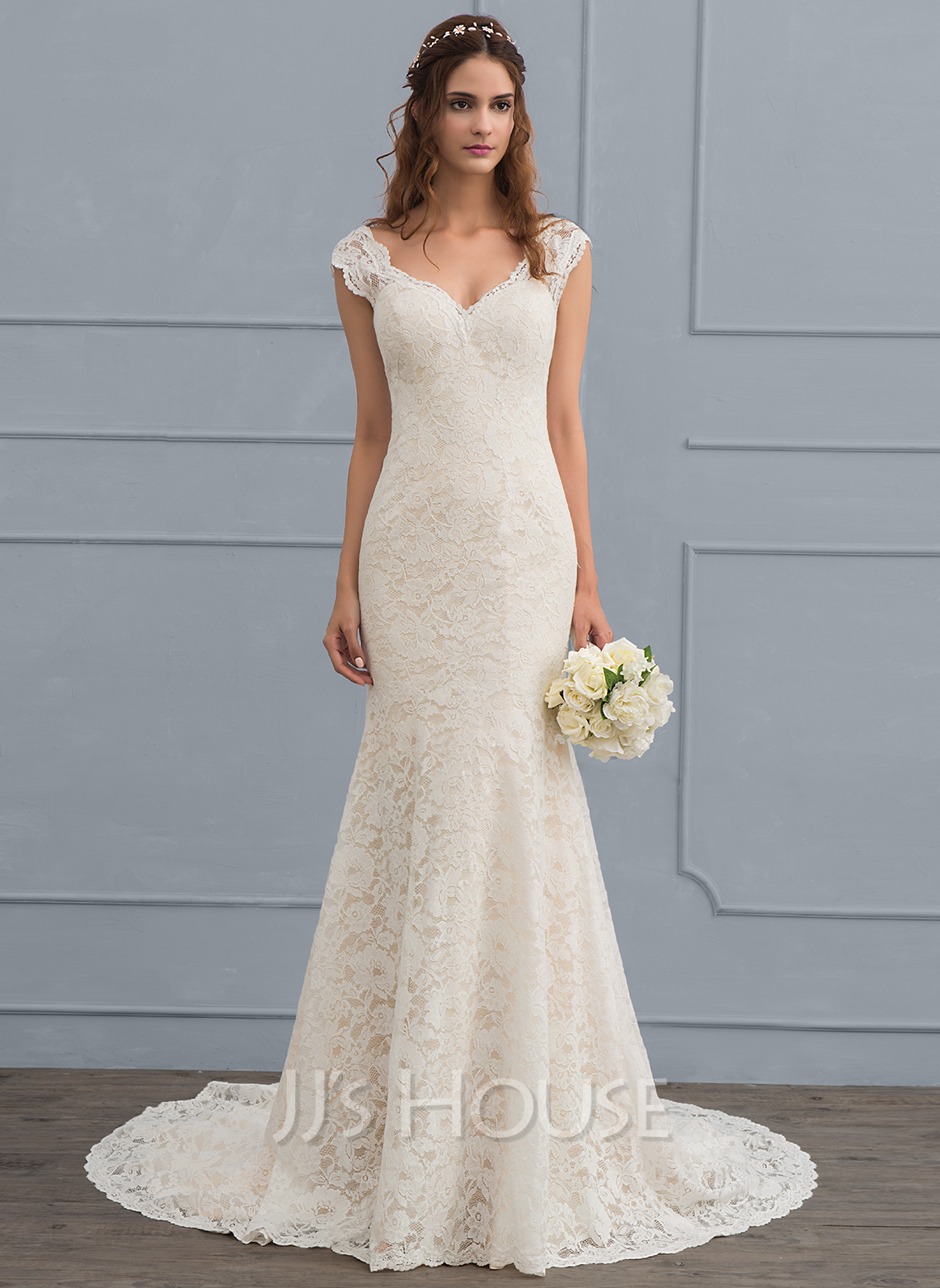 Trumpet/Mermaid V-neck Court Train Lace Wedding Dress (002118442 ...