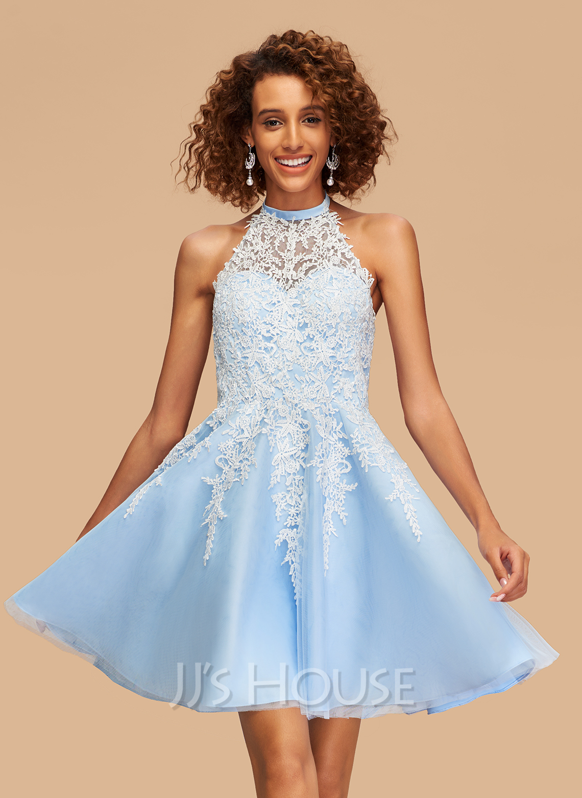 A-Line Halter Short/Mini Tulle Homecoming Dress With Lace