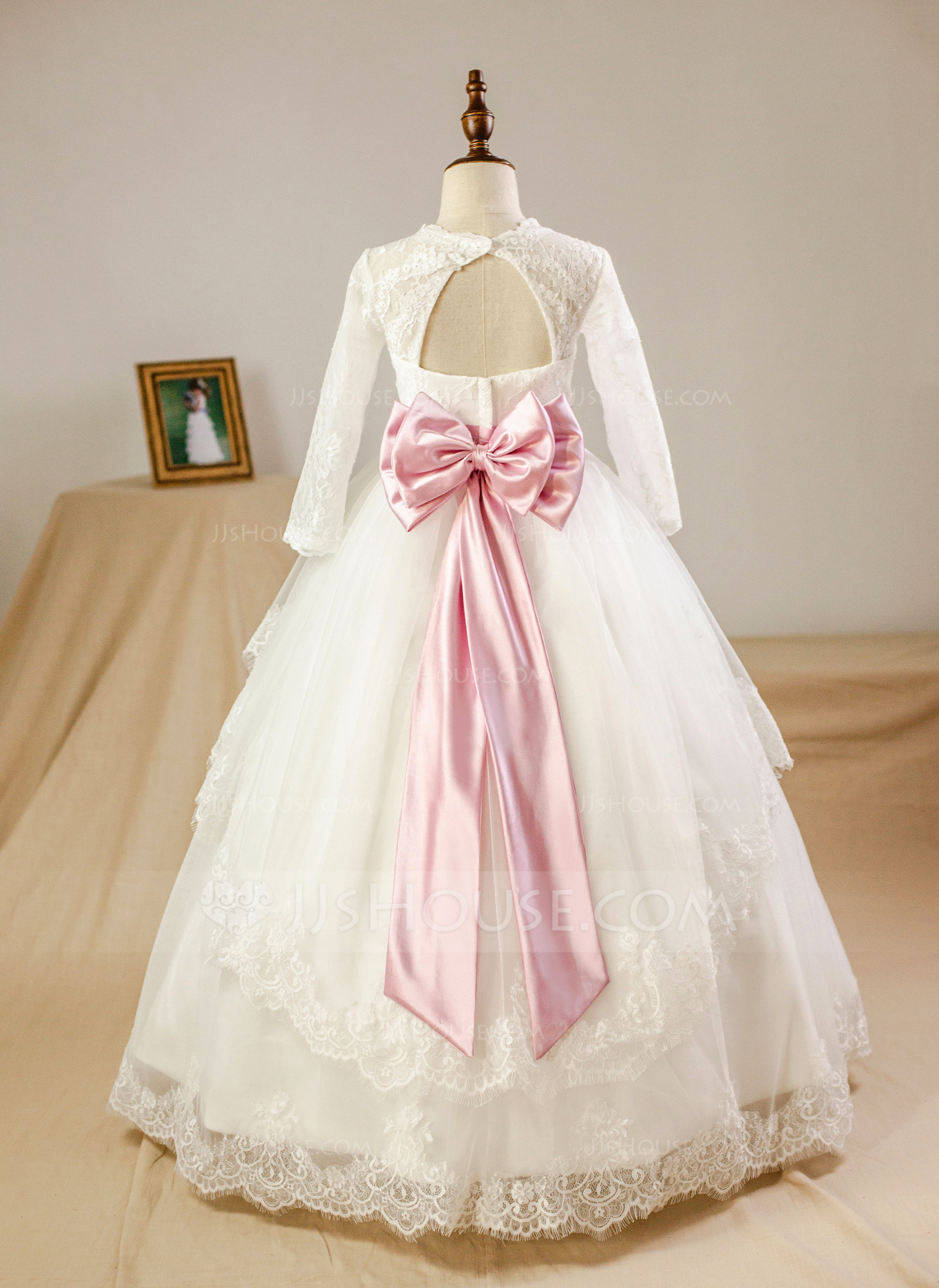 247da5a1cde3 Ball Gown Floor-length Flower Girl Dress - Satin Tulle Lace Long Sleeves  Scoop Neck With Sash Beading Bow(s) Rhinestone Back Hole (Petticoat NOT ...