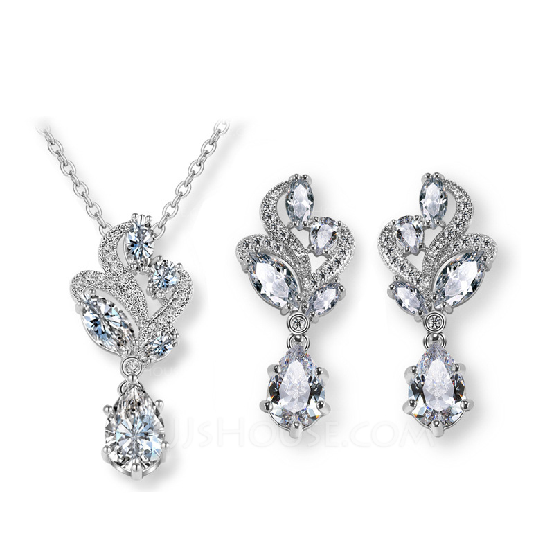 Elegant Copper/Zircon Ladies' Jewelry Sets