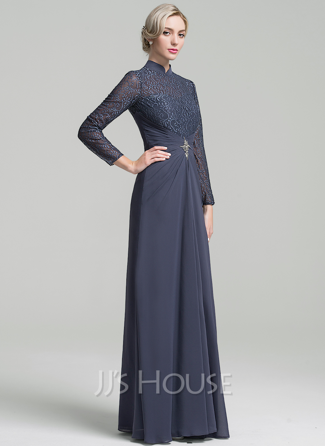 High Neck Floor-Length Chiffon Mother of the Bride Dress With Ruffle Beading