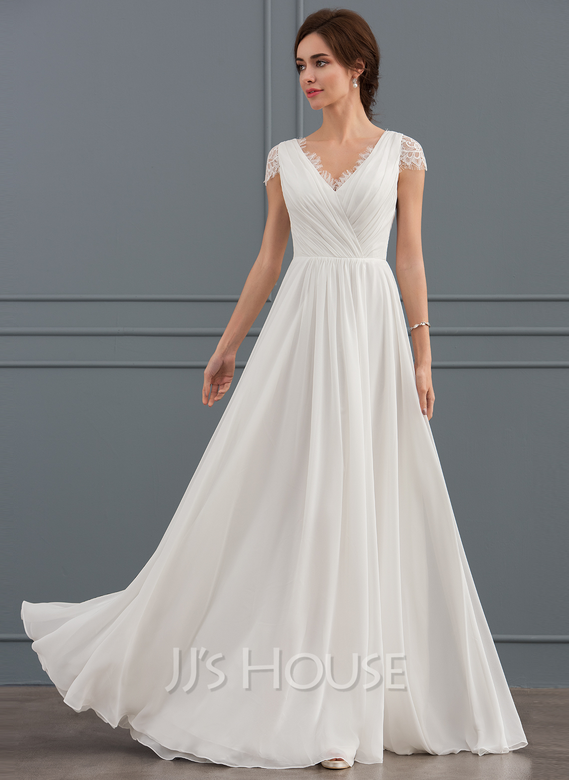 A Line V Neck Floor Length Chiffon Lace Wedding Dress With Ruffle