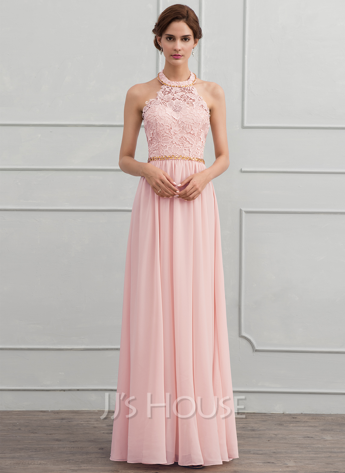 A Line Princess Halter Floor Length Chiffon Evening Dress