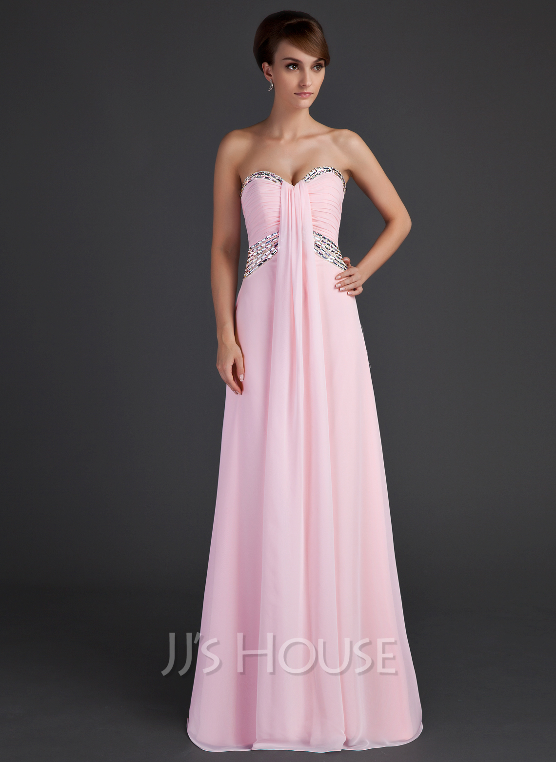 Empire Sweetheart Floor-Length Chiffon Holiday Dress With Ruffle Beading