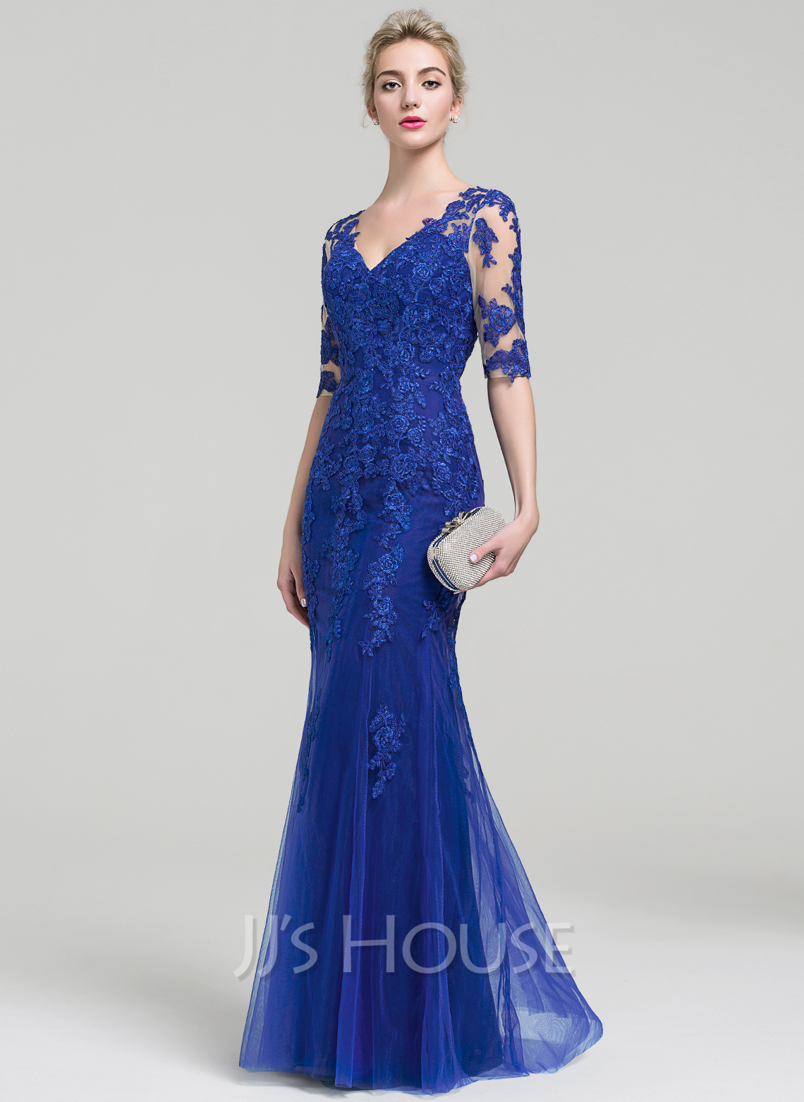 ba7867bf624 Trumpet Mermaid V-neck Floor-Length Tulle Lace Evening Dress. Loading zoom